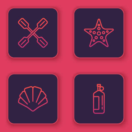 Set line Paddle, Scallop sea shell, Starfish and Aqualung. Blue square button. Vector