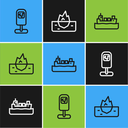 Set line Trash can, Oil tanker ship and Iceberg icon. Vector 向量圖像