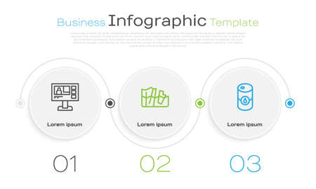 Set line Television report, Glacier melting and Barrel oil. Business infographic template. Vector