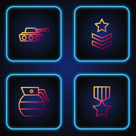 Set line Military reward medal, Hand grenade, tank and rank. Gradient color icons. Vector 向量圖像