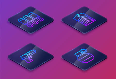 Set Isometric line Bullet, Pistol or gun,   and Hand grenade. Blue square button. Vector