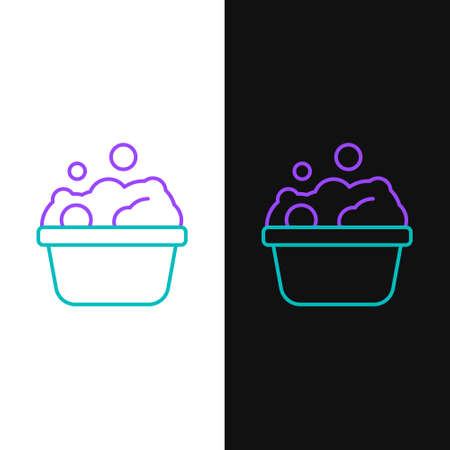 Line Pets bath icon isolated on white and black background. Colorful outline concept. Vector