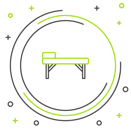 Line Massage table icon isolated on white background. Colorful outline concept. Vector Foto de archivo - 164679033