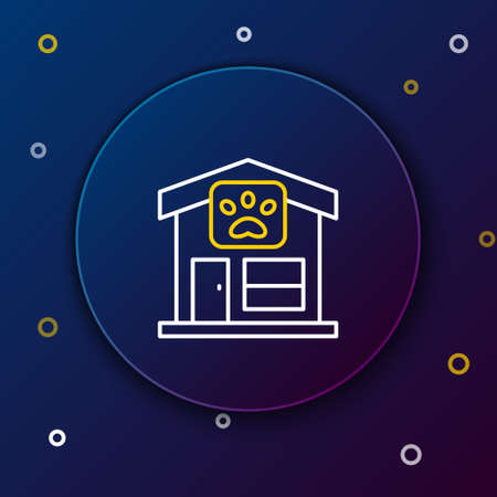 Line Pet grooming icon isolated on blue background. Pet hair salon. Barber shop for dogs and cats. Colorful outline concept. Vector Foto de archivo - 164679055