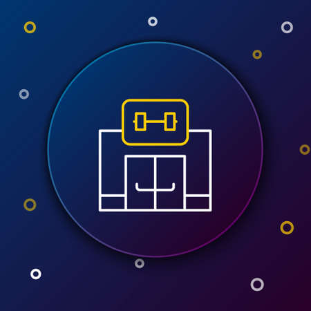 Line Gym building icon isolated on blue background. Sport club. Colorful outline concept. Vector