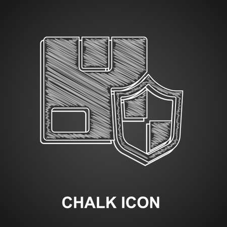 Chalk Delivery security with shield icon isolated on black background. Delivery insurance. Insured cardboard boxes beyond the shield. Vector