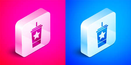Isometric Paper glass with drinking straw and water icon isolated on pink and blue background. Soda drink glass. Fresh cold beverage symbol. Silver square button. Vector