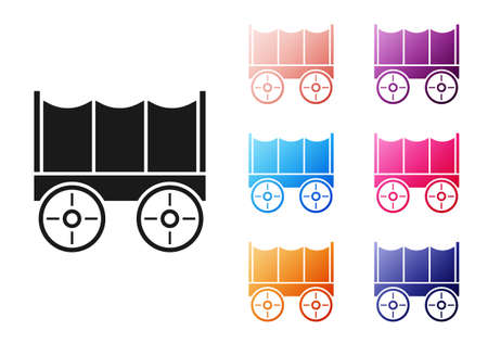 Black Wild west covered wagon icon isolated on white background. Set icons colorful. Vector