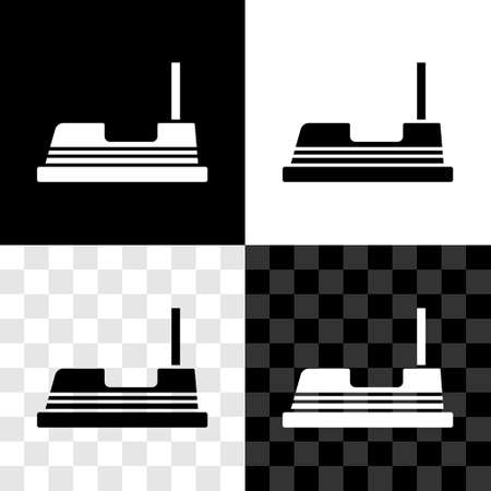 Set Bumper car icon isolated on black and white, transparent background. Amusement park. Childrens entertainment playground, recreation park. Vector