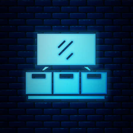 Glowing neon TV table stand icon isolated on brick wall background. Vector