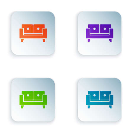 Color Sofa icon isolated on white background. Set colorful icons in square buttons. Vector