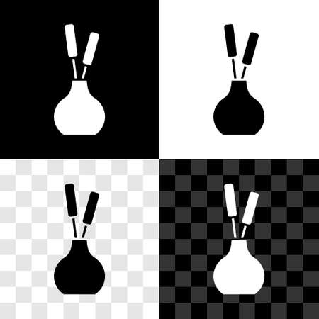 Set Vase icon isolated on black and white, transparent background. Vector