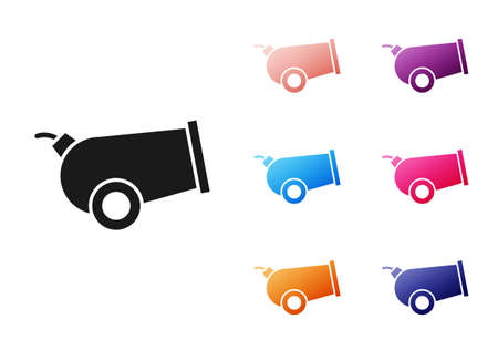 Black Cannon icon isolated on white background. Set icons colorful. Vector