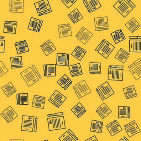 Blue line Marriage contract icon isolated seamless pattern on yellow background. Wedding certificate. Vector