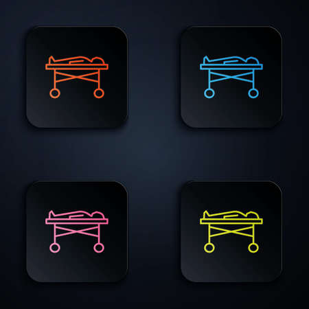 Color neon line Dead body in the morgue icon isolated on black background. Set icons in square buttons. Vector
