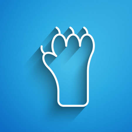 White line Paw print icon isolated on blue background. Dog or cat paw print. Animal track. Long shadow. Vector
