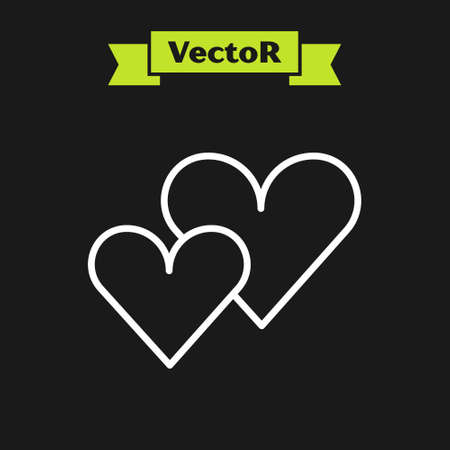White line Heart icon isolated on black background. Romantic symbol linked, join, passion and wedding. Valentine day symbol. Vector