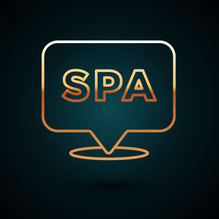 Gold line Spa salon icon isolated on dark blue background. Concept for beauty salon, massage, cosmetic. Spa treatment and cosmetology. Vector