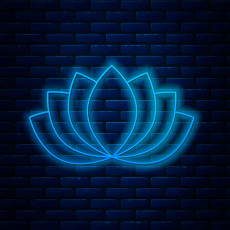 Glowing neon line Lotus flower icon isolated on brick wall background. Vector Vectores