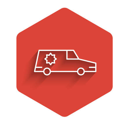 White line Hearse car icon isolated with long shadow. Red hexagon button. Vector