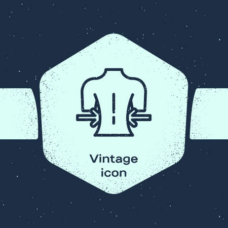 Grunge line Massage icon isolated on blue background. Relaxing, leisure. Monochrome vintage drawing. Vector Vectores