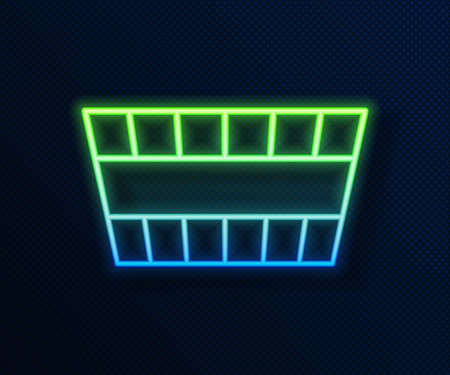 Glowing neon line Sauna bucket icon isolated on blue background. Vector