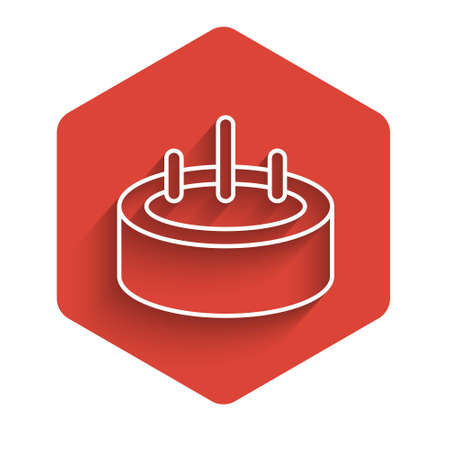 White line Swimming pool with ladder icon isolated with long shadow. Red hexagon button. Vector