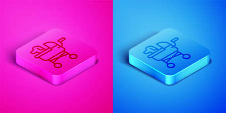 Isometric line Pet stroller icon isolated on pink and blue background. Square button. Vector