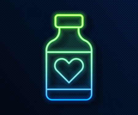 Glowing neon line Vitamin complex of pill capsule icon isolated on blue background. Healthy lifestyle. Vector