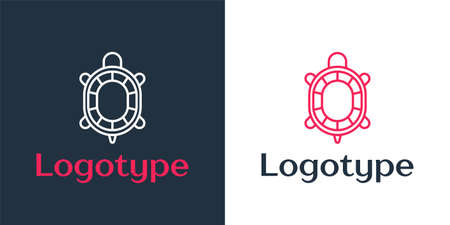Logotype line Turtle icon isolated on white background. Logo design template element. Vector