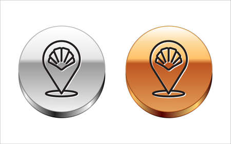 Black line Scallop sea shell icon isolated on white background. Seashell sign. Silver-gold circle button. Vector