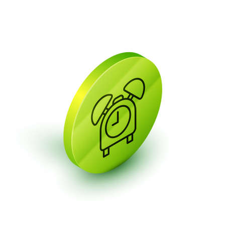 Isometric line Alarm clock icon isolated on white background. Wake up, get up concept. Time sign. Green circle button. Vector Vectores
