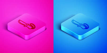 Isometric line Knife icon isolated on pink and blue background. Army knife. Square button. Vector Foto de archivo - 164679888
