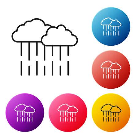 Black line Cloud with rain icon isolated on white background. Rain cloud precipitation with rain drops. Set icons colorful circle buttons. Vector