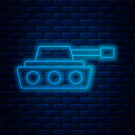 Glowing neon line Military tank icon isolated on brick wall background. Vector