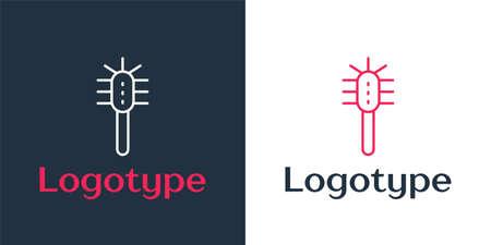 Logotype line Toilet brush icon isolated on white background. Logo design template element. Vector Иллюстрация