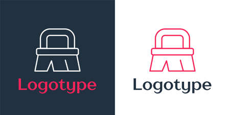 Logotype line Brush for cleaning icon isolated on white background. Logo design template element. Vector