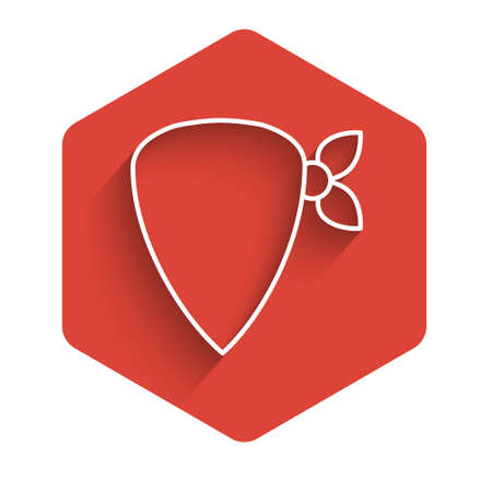 White line Cowboy bandana icon isolated with long shadow. Red hexagon button. Vector