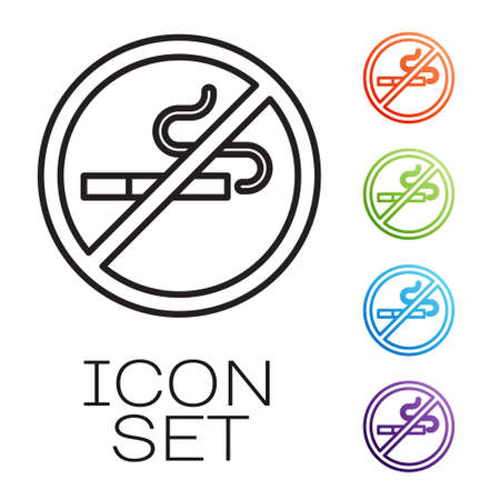 Black line No Smoking icon isolated on white background. Cigarette symbol. Set icons colorful. Vector