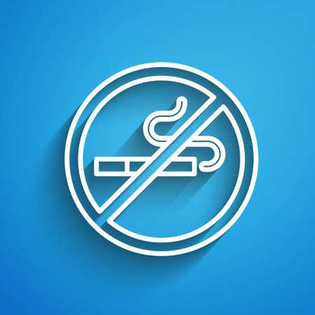 White line No Smoking icon isolated on blue background. Cigarette symbol. Long shadow. Vector Illusztráció