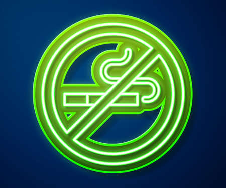 Glowing neon line No Smoking icon isolated on blue background. Cigarette symbol. Vector