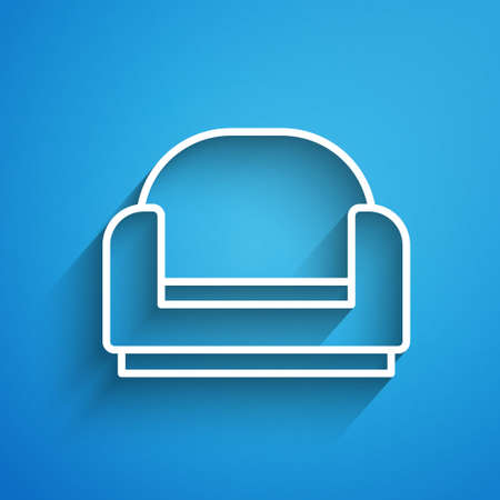 White line Armchair icon isolated on blue background. Long shadow. Vector