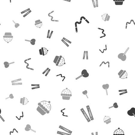 Set Jelly worms candy, Sugar stick packets, Lollipop and Cupcake on seamless pattern. Vector Vectores