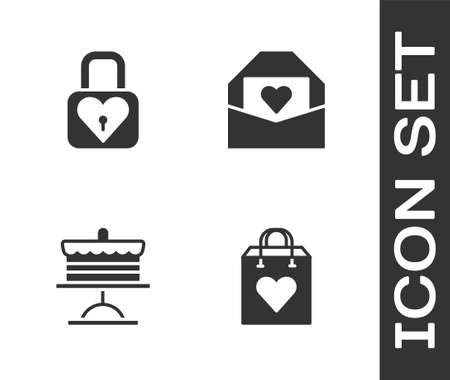 Set Shopping bag with heart, Lock and, Cake on plate and Envelope Valentine icon. Vector