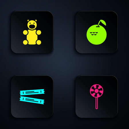 Set Lollipop, Jelly bear candy, Sugar stick packets and Apple. Black square button. Vector Vectores