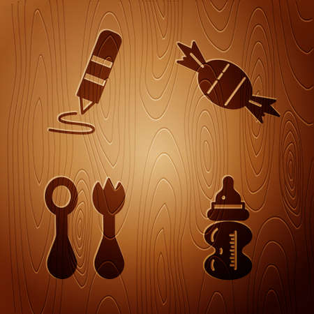 Set Baby bottle, Wax crayon for drawing, Baby cutlery with fork and spoon and Candy on wooden background. Vector Foto de archivo - 164679353