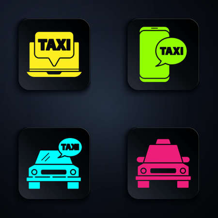 Set Taxi car, Laptop call taxi service, Taxi car and Taxi call telephone service. Black square button. Vector Vectores