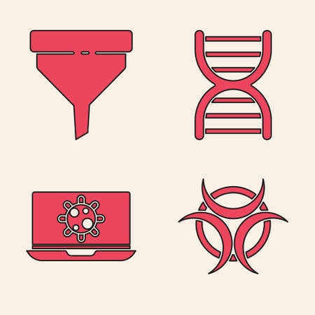 Set Biohazard symbol, Funnel or filter, DNA symbol and Bacteria on laptop icon. Vector Vectores