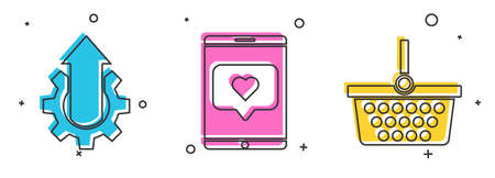 Set Arrow growth gear business, Mobile phone and like with heart and Shopping basket icon. Vector Vectores