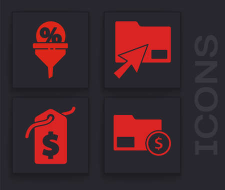 Set Envelope with coin dollar, Lead management, Cursor click document folder and Price tag with dollar icon. Vector